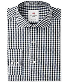 Ben Sherman Men's Slim-Fit Black & Light Blue Dobby Check Dress Shirt