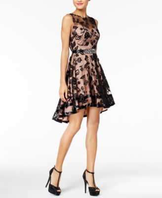 say yes to the dress embellished flocked highlow fit u0026 flare dress