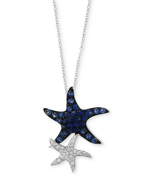 EFFY Collection Seaside by EFFY® Sapphire (1/2 ct. t.w.) & Diamond (1/10 ct. t.w.) Starfish Pendant Necklace in 14k White Gold