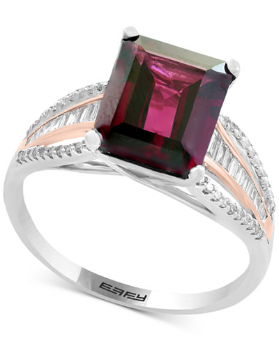 Bordeaux by EFFY® Garnet (3-3/8 ct. t.w.) & Diamond (1/4 ct. t.w.) Ring in 14k White & Rose Gold
