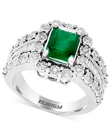 Brasilica by EFFY® Emerald (1-3/8 ct. t.w.) & Diamond (3/4 ct. t.w.) Ring in 14k White Gold