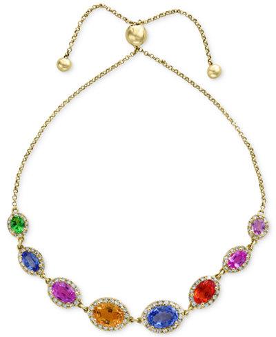Watercolors by EFFY® Multi-Gemstone (4-1/10 ct. t.w.) & Diamond (1/2 ct. t.w.) Slider Bracelet in 14k Gold