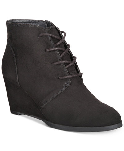 American Rag Baylie Lace-Up Wedge Booties, Created for Macy's - Boots - Shoes - Macy's
