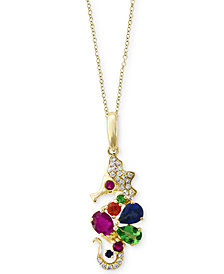 Seaside by EFFY® Multi-Gemstone (5/8 ct. t.w.) & Diamond Accent Pendant Necklace in 14k Gold