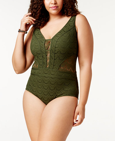 Becca ETC Plus Size Crocheted Illusion One-Piece Swimsuit