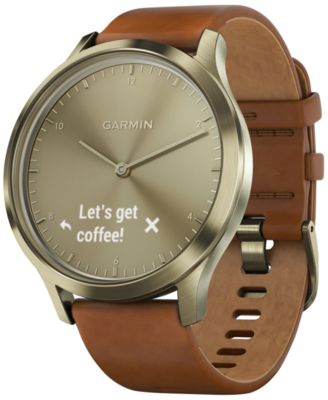 vívomove™ HR Brown Leather Strap Hybrid Smart Watch 43mm