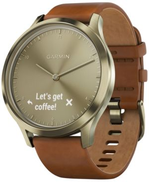 Vivomove Hr Premium Brown Leather Strap Hybrid Smartwatch, 43Mm