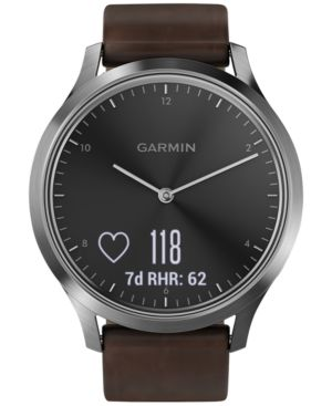 Vivomove Hr Premium Hybrid Brown Leather Strap Smartwatch, 43Mm