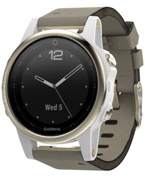 GARMIN Unisex Fenix 5S Gray Suede Strap Smart Watch 42Mm