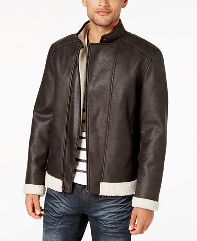 I.N.C. Men's Fleece-Lined Faux Leather Jacket, Created for Macy's ...
