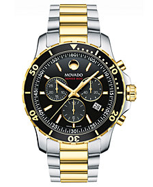 Movado Men's Swiss Chronograph Series 800 Two-Tone PVD Stainless Steel Bracelet Watch 42mm