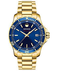 Movado Men's Swiss Series 800 Gold-Tone PVD Stainless Steel Bracelet Watch 40mm