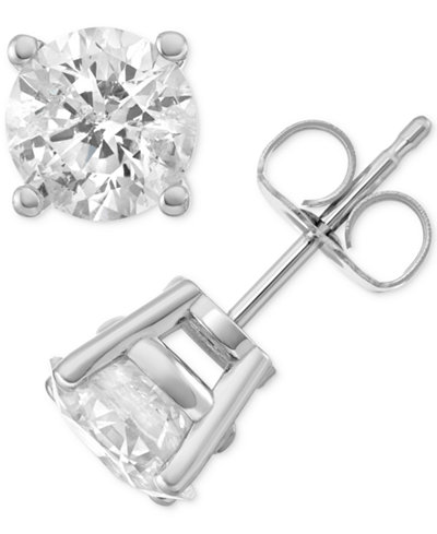 Macy's Star Signature Diamond™ Stud Earrings (2 ct. t.w.) in 14k Gold or White Gold