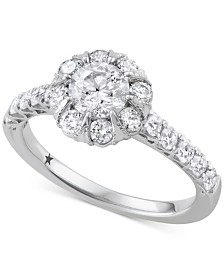 Macy's Star Signature Diamond™ Halo Engagement Ring (1-1/2 ct. t.w.) in 14k White Gold