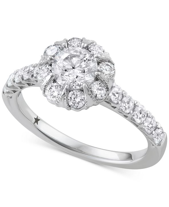 Macy's Star Signature Diamond Halo Engagement Ring (1-1/2 ct. t.w.) in 14k White Gold