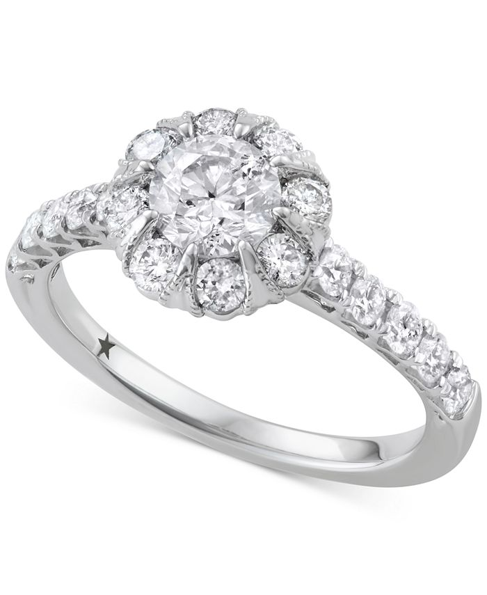 Macy's Star Signature Diamond - ™ Halo Engagement Ring (1-1/2 ct. t.w.) in 14k White Gold