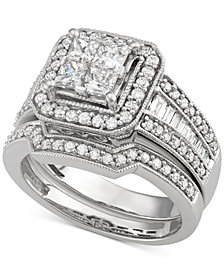 Diamond Square Halo Bridal Set (1-5/8 ct. t.w.) in 14k White Gold