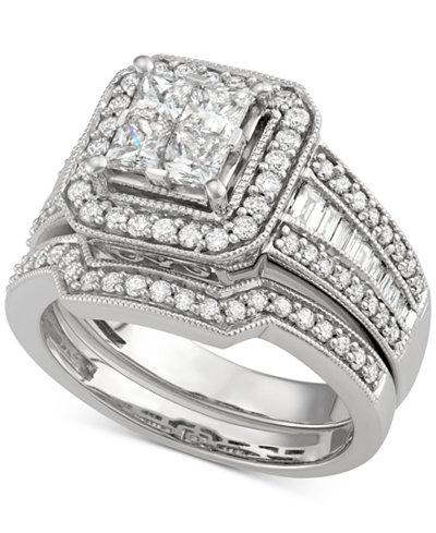 Diamond Square Halo Bridal Set (1-5/8 ct. t.w.) in 14k White Gold