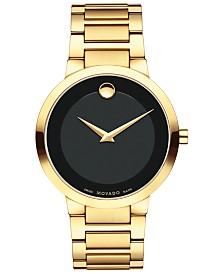 Movado Men's Swiss Modern Classic Gold-Tone PVD Stainless Steel Bracelet Watch 39mm