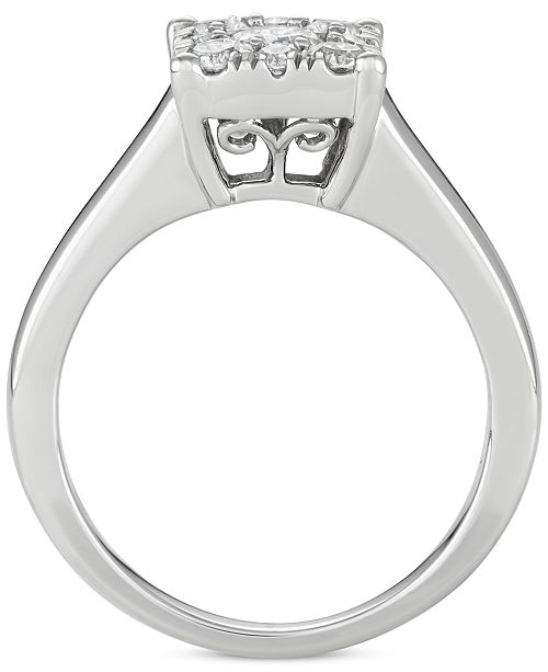 Macy's Diamond Square Cluster Engagement Ring (3/4 Ct. T.w