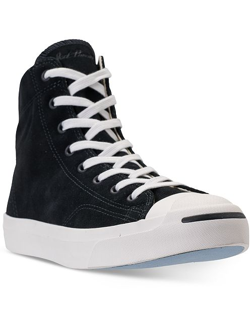 7ec15128909748 ... Converse Men s Jack Purcell Jack Suede High Top Casual Sneakers from  Finish ...