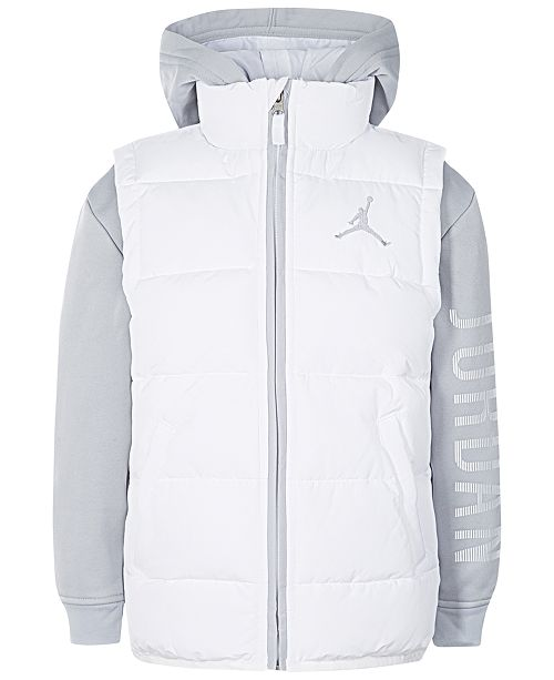 new concept 089e9 3f3c9 Jordan AJ Hooded Layered-Look Puffer Vest Jacket, Little Boys