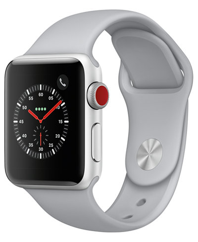 Apple Watch Series 3 (GPS + Cellular), 38mm Silver Aluminum Case with Fog Sport Band