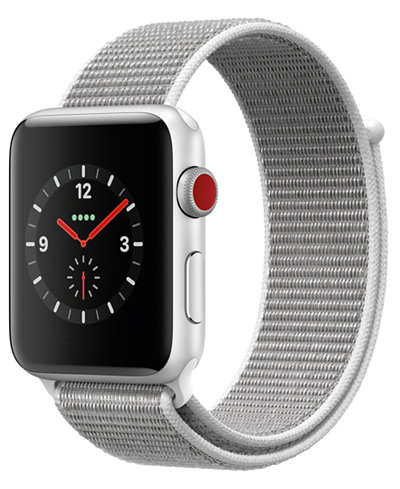 Apple Watch Series 3 (GPS + Cellular), 42mm Silver Aluminum Case with Seashell Sport Loop