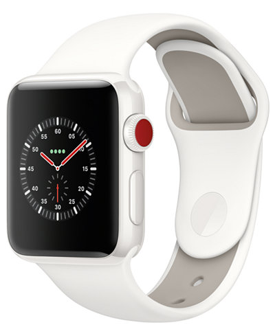 Apple Watch Edition (GPS + Cellular), 38mm White Ceramic Case with Soft White/Pebble Sport Band