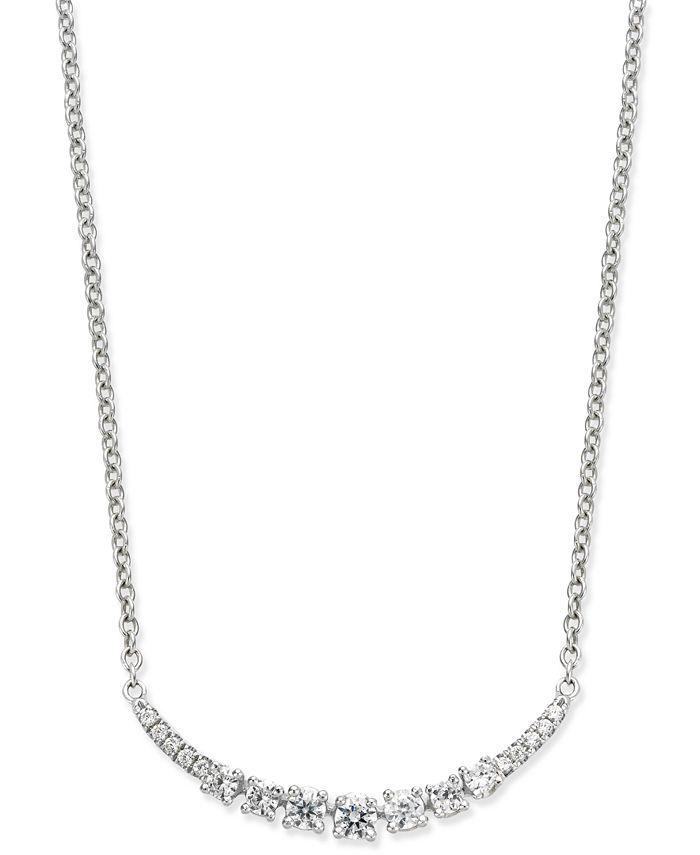 Macy's - Diamond Arch Pendant Necklace (1/4 ct. t.w.) in 14k White Gold