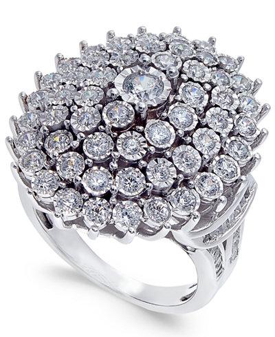 Diamond Bezel-Set Cluster Ring (2 ct. t.w.) in 14k White Gold