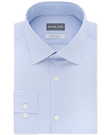 Men's Classic/Regular Fit Airsoft Stretch Non-Iron Performance Blue Stripe Dress Shirt