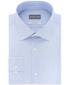 Michael Kors Men's Classic/Regular Fit Airsoft Stretch Non-Iron Performance Blue Stripe Dress Shirt