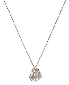 Joan Boyce Rose Gold-Tone Pavé Heart Long Pendant Necklace