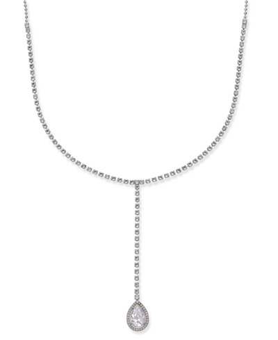 Danori Silver-Tone Long Drop Crystal Pendant Necklace, Created for Macy's