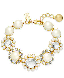 kate spade new york Gold-Tone Imitation Pearl & Crystal Link Bracelet
