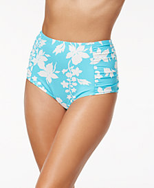 MICHAEL Michael Kors Floral Vine Printed High-Waist Bikini Bottoms