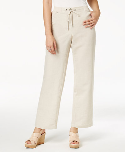 JM Collection Linen-Blend Wide-Leg Pants, Created for Macy's