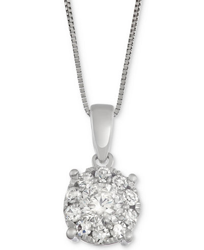 Diamond Cluster Halo Pendant Necklace (3/4 ct. t.w.) in 14k White Gold