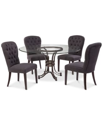 "Caspian Round Metal Dining Furniture, 5-Pc. Set (60"" Table & 4 Side Chairs), Created for Macy's"