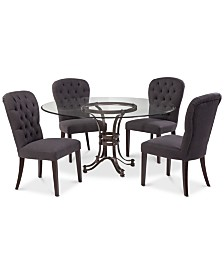 """Caspian Round Metal Dining Furniture, 5-Pc. Set (60"""" Table & 4 Side Chairs), Created for Macy's"""