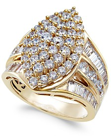 Diamond Cluster Statement Ring (3 ct. t.w.) in 14k Gold