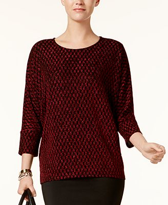 Alfani Petite Printed Metallic Sweater, Created for Macy's