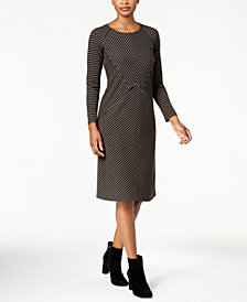 NY Collection Petite Mitered-Stripe Dress