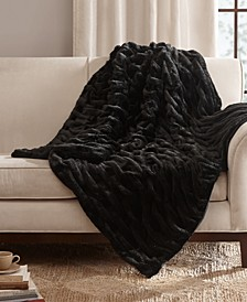 "Reversible Ruched Faux-Fur 50"" x 60"" Throw"
