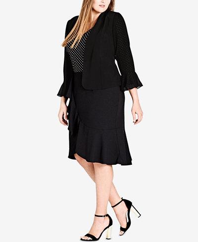 City Chic Trendy Plus Size Draped Frill Jacket