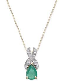 Emerald (3/4 ct. t.w.) & Diamond(1/10 c.t.t.w.) Pendant Necklace in 14k Gold