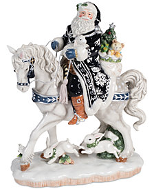 Fitz and Floyd Bristol Holiday Santa on Horse Figurine