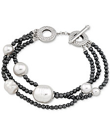 Majorica Two-Tone Sterling Silver Imitation Pearl Multi-Row Bracelet