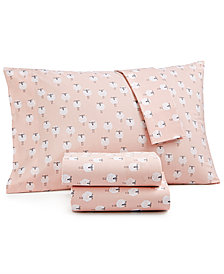 CLOSEOUT! Whim by Martha Stewart Collection Novelty Print Twin XL 3-pc Sheet Set, 200 Thread Count 100% Cotton Percale, Created for Macy's